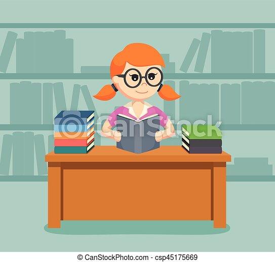 vrouwlijk, boek, lezende , student - csp45175669