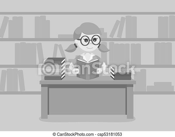 vrouwlijk, boek, lezende , student - csp53181053