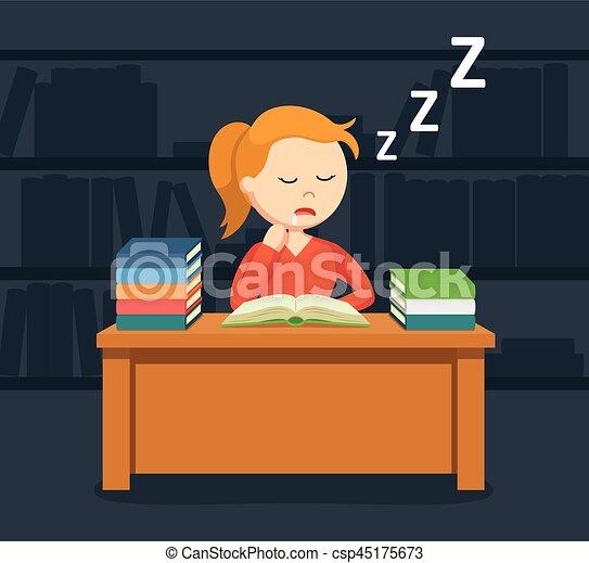 vrouwlijk, slapende, terwijl, boek, student lezen - csp45175673