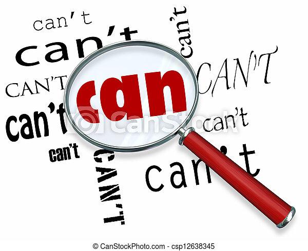 vs., 単語, ポジティブ, ガラス, 態度, 缶, 拡大する, can't - csp12638345
