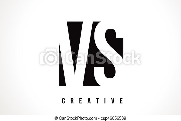Vs V S White Letter Logo Design With Black Square Vs V S White