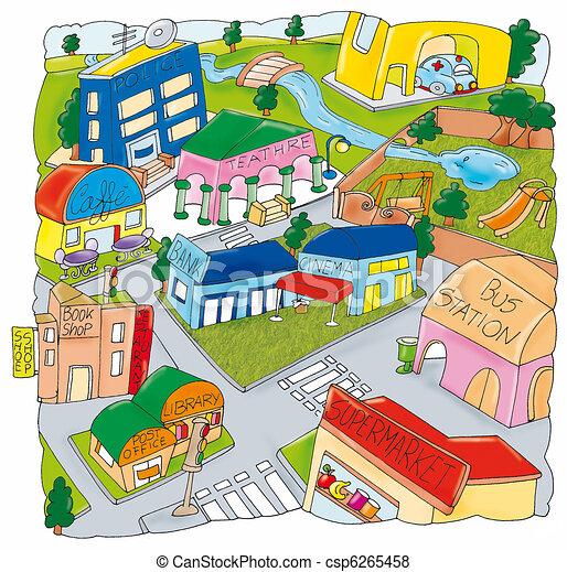 Vue, aérien, ville. Aérien, ville, maisons, parc, magasins, vue.
