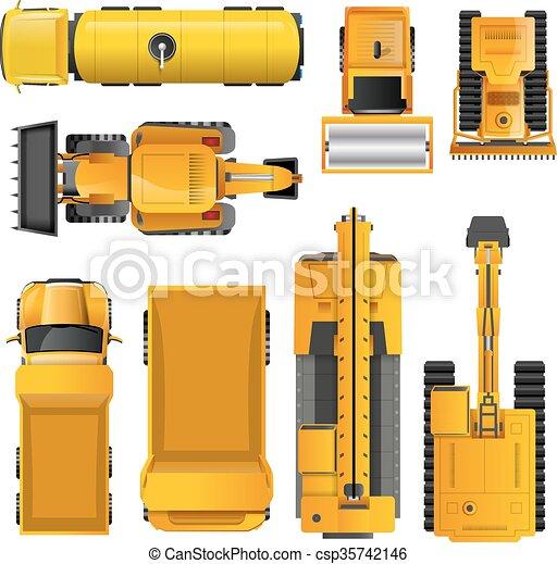 vue dessus, machines, construction - csp35742146