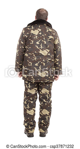 taille 40 55ef9 9db2e vue., militaire, gilet, dos, homme