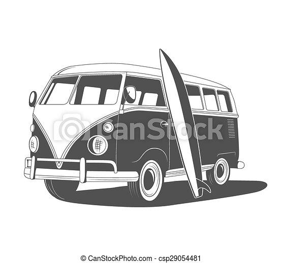 vue., retro, voyage, surfboard., côté, autobus - csp29054481