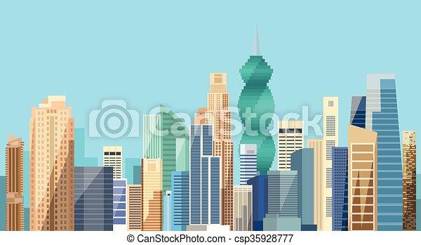 vue, ville, cityscape, fond, panama, gratte-ciel, horizon - csp35928777