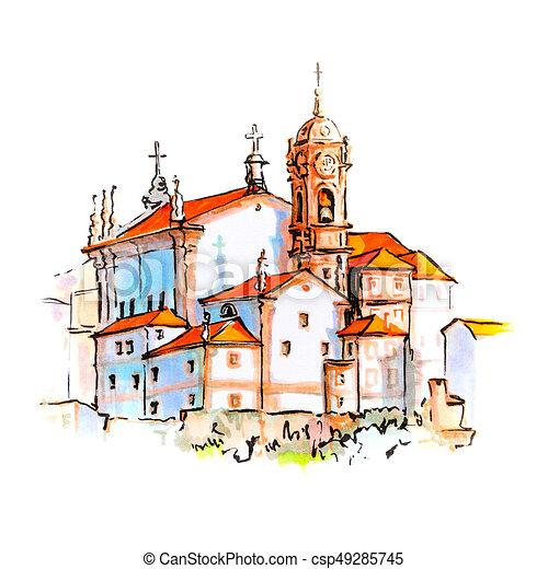 Vue ville portugal porto sc nique portugais image - Dessin portugal ...