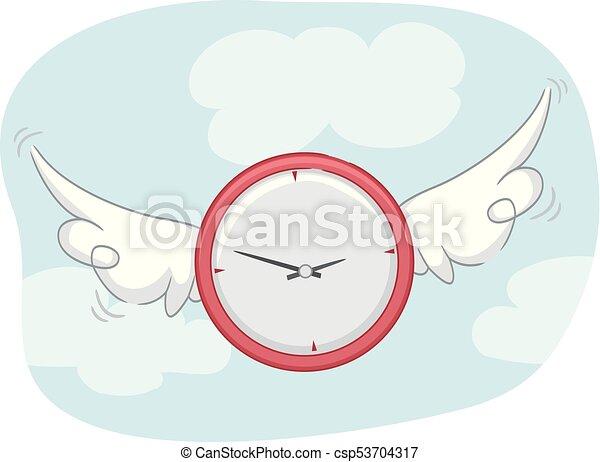 Alitas de reloj volando - csp53704317