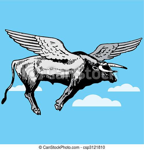 Bull con alas volando - csp3121810