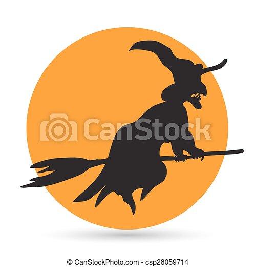Una bruja volando sobre una escoba - csp28059714