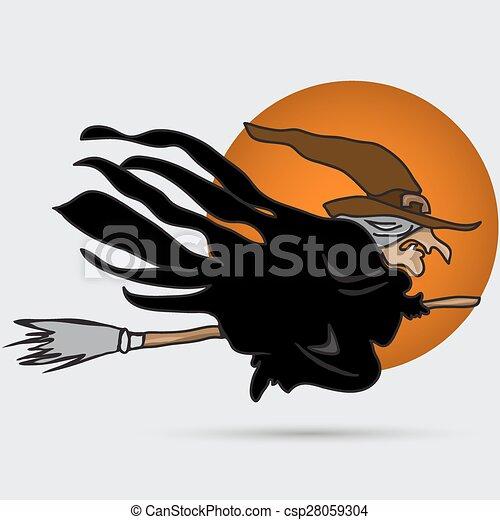 Una bruja volando sobre una escoba - csp28059304