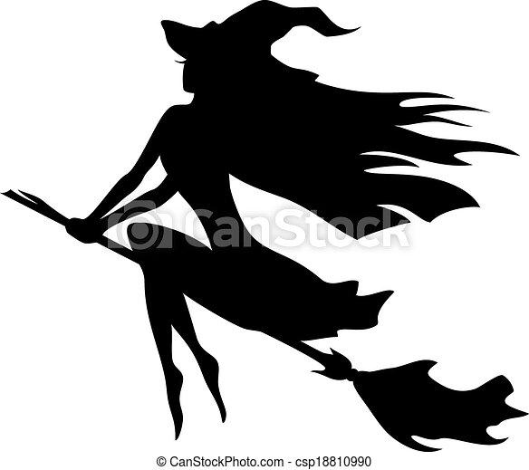 Una bruja volando sobre una escoba - csp18810990