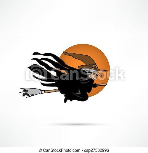 Una bruja volando sobre una escoba - csp27582996