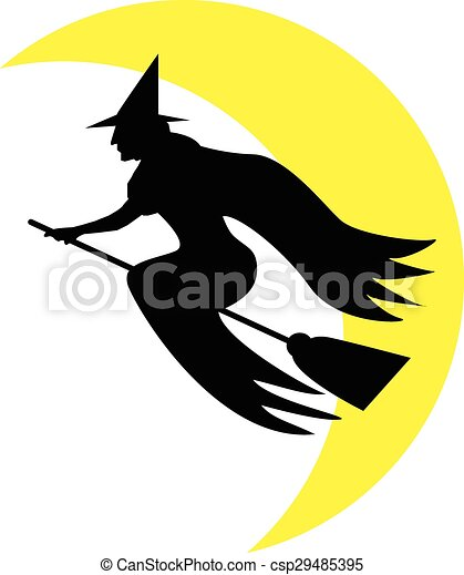 Una bruja volando sobre una escoba - csp29485395