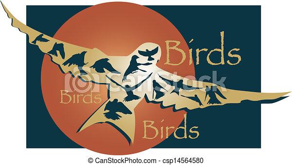 Pájaros voladores gráficos - csp14564580