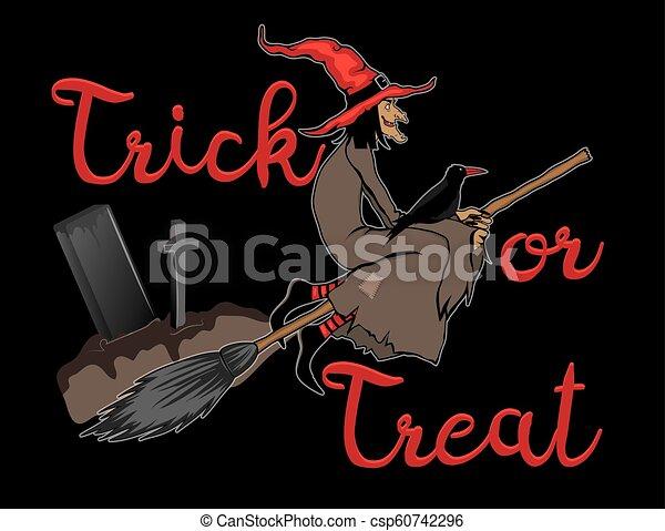Truco o trato fondo de Halloween con bruja voladora - csp60742296