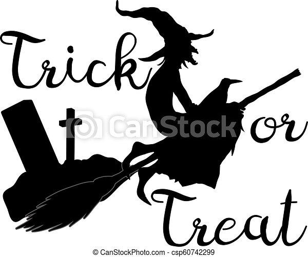 Truco o trato fondo de Halloween con bruja voladora - csp60742299