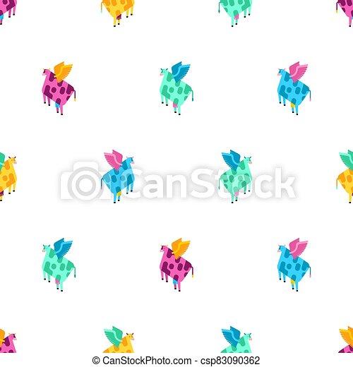 vuelo, patrón, seamless., fondo., vaca, ilustración, carne de vaca, alas, vector, tela, texture., bebé - csp83090362