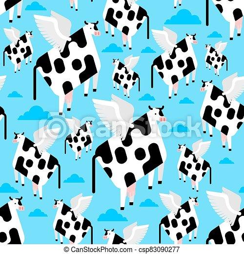 vuelo, patrón, seamless., fondo., vaca, ilustración, carne de vaca, alas, vector, tela, texture., bebé - csp83090277