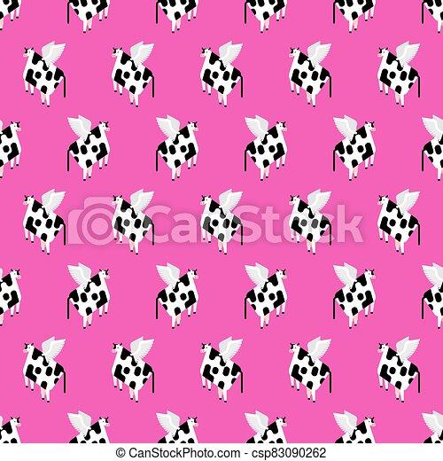 vuelo, texture., carne de vaca, alas, seamless., bebé, patrón, fondo., vector, ilustración, tela, vaca - csp83090262
