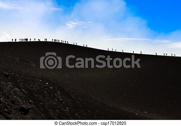vulkaan, trekkers, groep, heuvel, wandelende - csp17012820