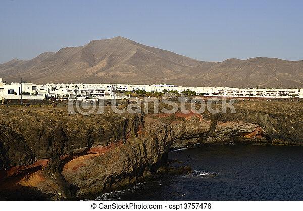 vulkanisch, blanca, lanzarote, kegel, playa, vergleich - csp13757476