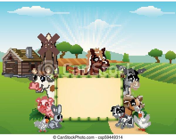 vuoto, animali, cartone animato, segno - csp59449314