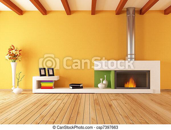 vuoto, interno, minimalista, caminetto - csp7397663