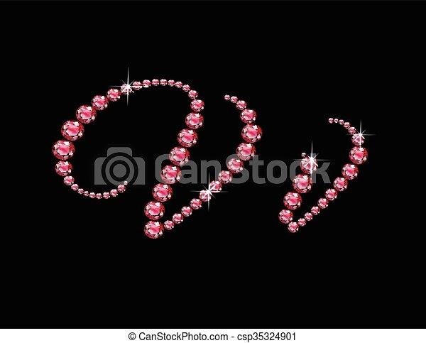 Vv Ruby Script Jeweled Font - csp35324901
