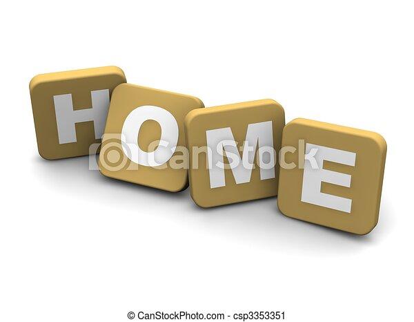 vydat, text., osamocený, ilustrace, white., domů, 3 - csp3353351