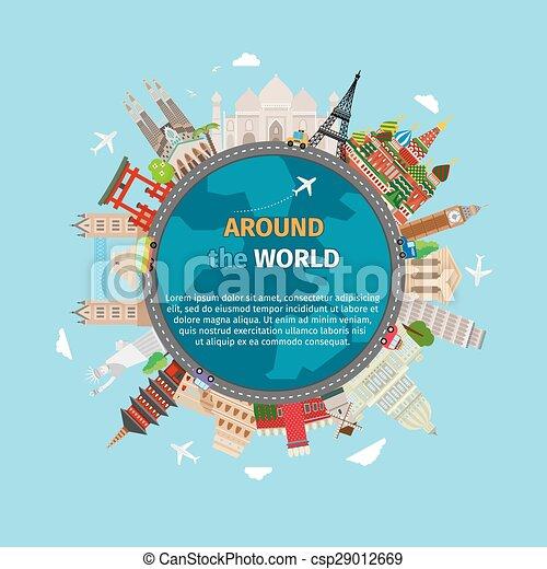 vykort, värld res, omkring - csp29012669