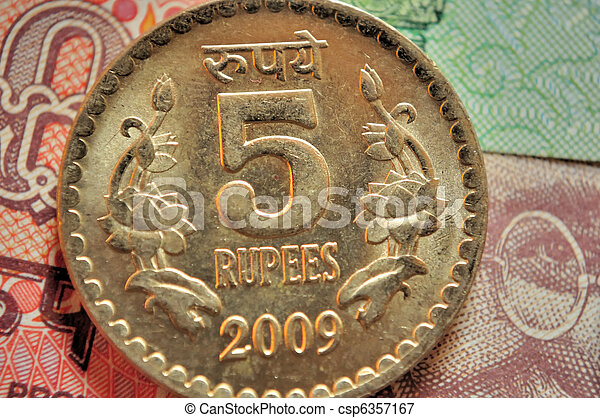 Währung Rs5 Geldmünzen Indische Benennung