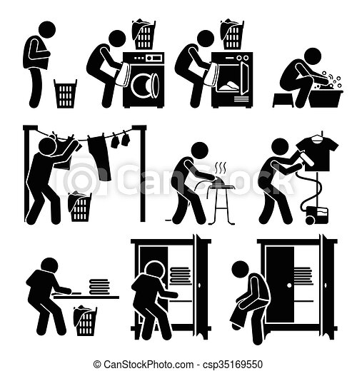 w scherei arbeiten waschen kleidung satz piktogramm. Black Bedroom Furniture Sets. Home Design Ideas