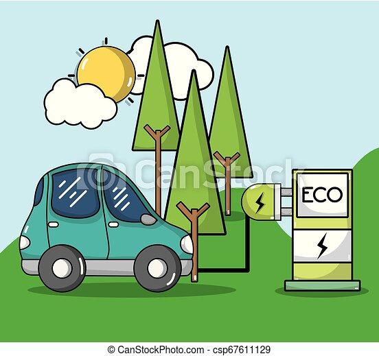 wóz, energia, stacja, elektryczny, recharge - csp67611129