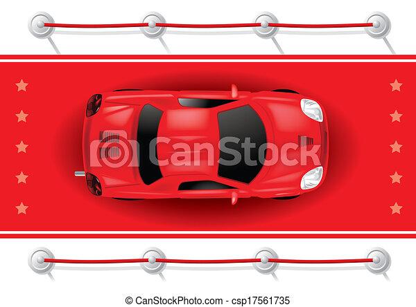 wóz, górny, -, wektor, dywan, czerwony, prospekt - csp17561735