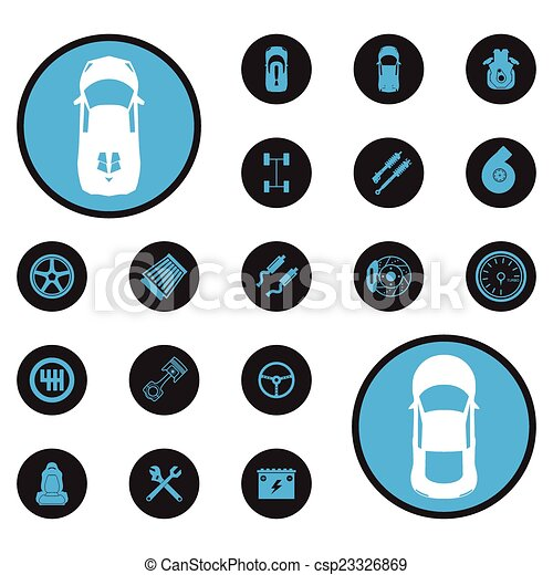 wóz, ikony - csp23326869
