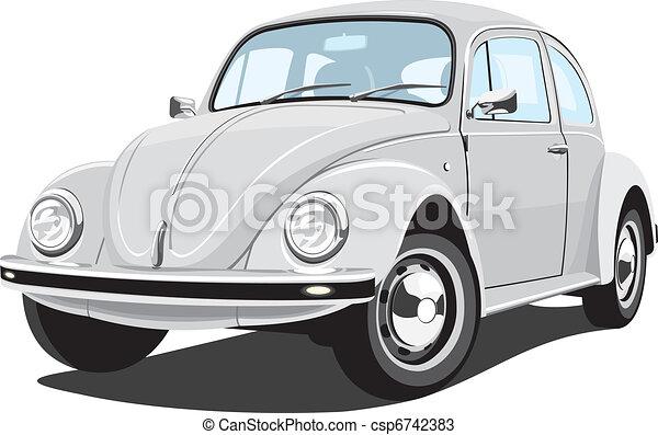 wóz, retro, srebrzysty - csp6742383