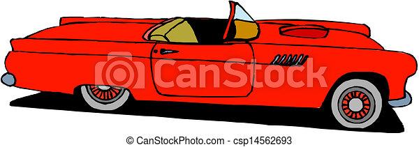 wóz, wektor, retro, czerwony - csp14562693