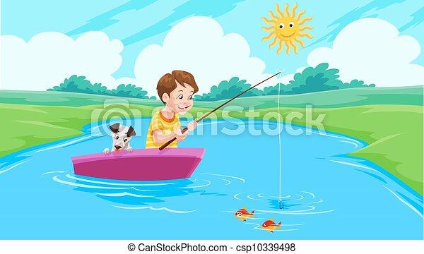 wędkarski, jezioro, ilustracja - csp10339498