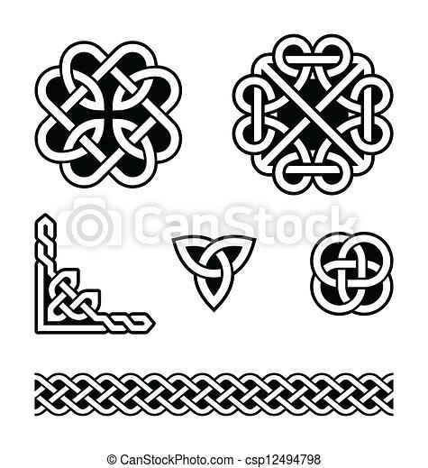 węzły, wzory, celtycki, wektor, - - csp12494798