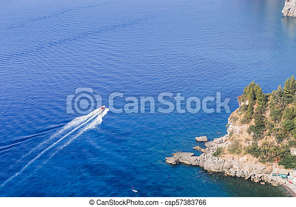 włochy, obserwacja, positano., pokład, amalfi, coast., prospekt - csp57383766