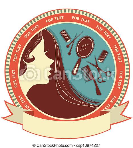 włosiany salon, kobieta, tło, twarz - csp10974227
