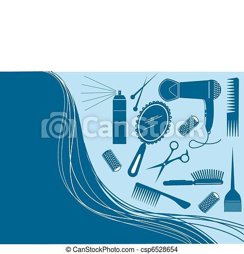włosiany styl, salon, piękno, element.vector - csp6528654