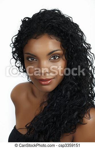 włosy, kobieta, kędzierzawy, afrykanin - csp3359151