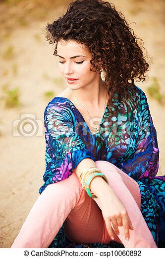 włosy, kobieta, kędzierzawy - csp10060892