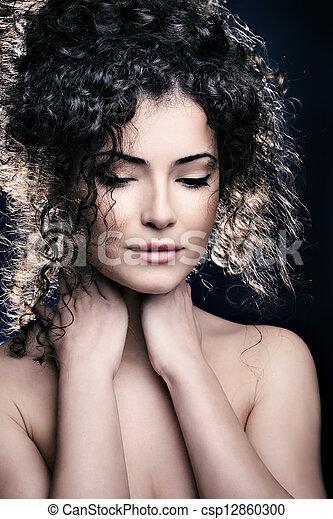 włosy, kobieta, kędzierzawy - csp12860300