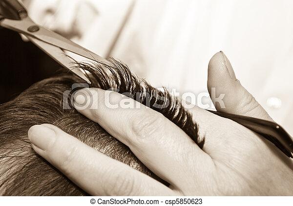 włosy, szczelnie-do góry, cięcie - csp5850623