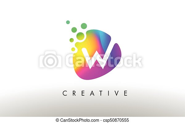 W Bunte Lila Abstrakt Form Form Design Brief Logo Ikone