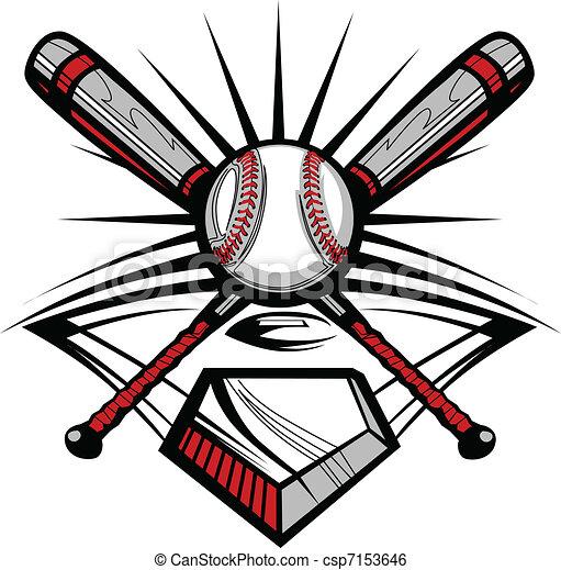 w, korsat, slagträ, softboll, baseball, eller - csp7153646