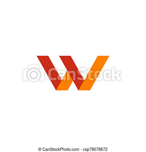 W letter initial icon logo design vector template - csp78078672
